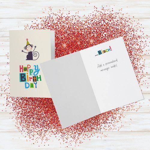 Happy birthday bitch glitter bomb card red